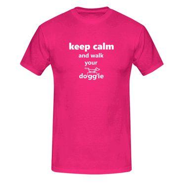 T-Shirt Keep Calm Walk your Doggie Hund Gassi Natur 13 Farben Herren XS - 5XL – Bild 5