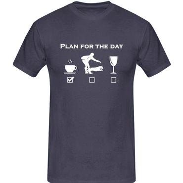 T-Shirt plan for the day Kaffee Hund Wein Tagesplan 13 Farben Herren XS-5XL – Bild 6