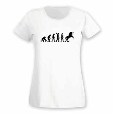 T-Shirt Evolution Einhorn Unicorn Beauty Pferd Prinzessin 15 Farben Damen XS-3XL – Bild 4