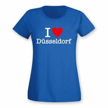 Düsseldorf T-Shirt Damen I love (Herz) Präsent Geschenk 9 Farben XS-2XL – Bild 1