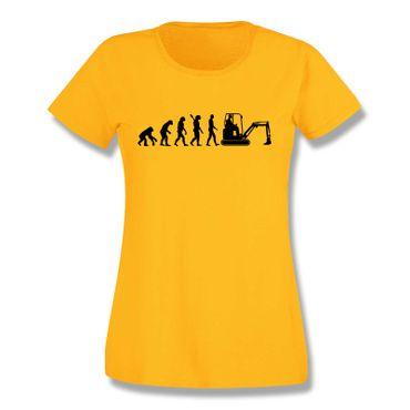 T-Shirt Evolution Bagger Baggerfahrer Minibagger Bobcat 15 Farben Damen XS-3XL – Bild 17