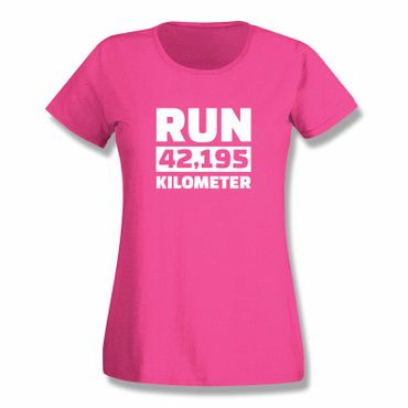 T-Shirt Run 42,195 km Marathon Laufen New York Boston 15 Farben Damen XS-3XL – Bild 5