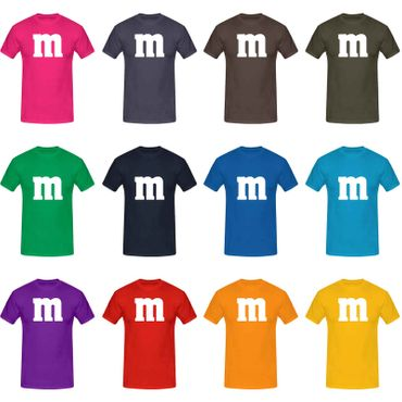 T-Shirt M&M Schoko-Linse Gruppenkostüm Karneval Fasching 15 Farben Kinder / Herren Gr. 98-5XL – Bild 1