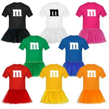 T-Shirt M&M + Tüllrock Karneval Gruppenkostüm Schokolinse 8 Farben Herren XS-5XL