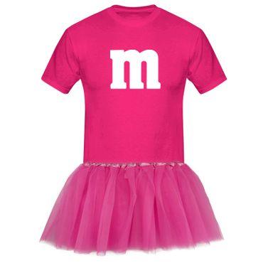 T-Shirt M&M + Tüllrock Karneval Gruppenkostüm Schokolinse 8 Farben Herren XS-5XL – Bild 5