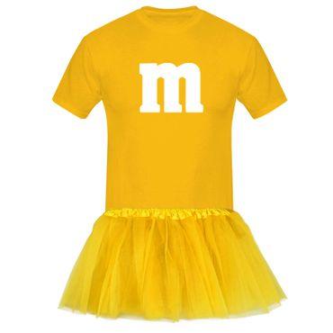 T-Shirt M&M + Tüllrock Karneval Gruppenkostüm Schokolinse 8 Farben Herren XS-5XL – Bild 10