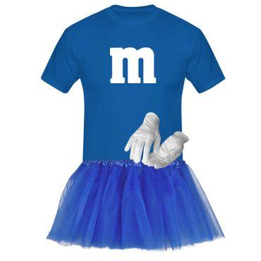 T-Shirt M&M + Tüllrock Karneval Gruppenkostüm Schokolinse 8 Farben Herren XS-5XL – Bild 15