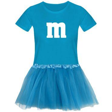T-Shirt M&M + Tüllrock Karneval Gruppenkostüm Schokolinse 11 Farben Damen XS-3XL – Bild 9