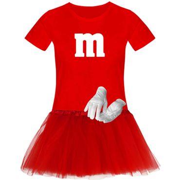 T-Shirt M&M + Tüllrock Karneval Gruppenkostüm Schokolinse 11 Farben Damen XS-3XL – Bild 22