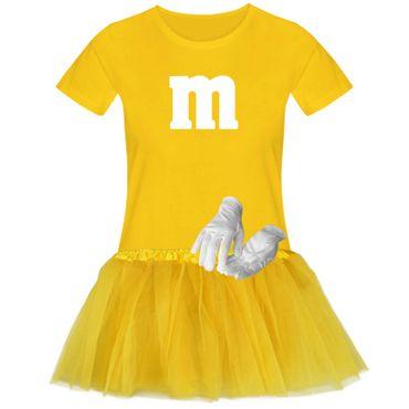 T-Shirt M&M + Tüllrock Karneval Gruppenkostüm Schokolinse 11 Farben Damen XS-3XL – Bild 24