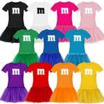T-Shirt M&M + Tüllrock Karneval Gruppenkostüm Schokolinse 11 Farben Damen XS-3XL 001