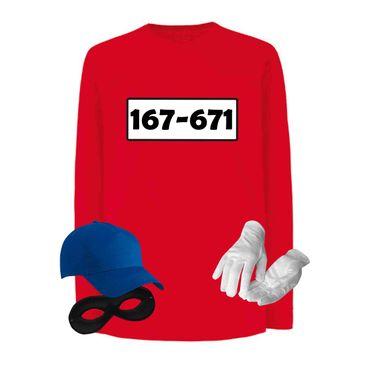 Panzerknacker Longsleeve Kinder Kostüm-Set Wunschnummer Karneval Gangster Kids 104-164 – Bild 1