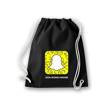 Turnbeutel mit Deinem Snapchat Code Snapcode Logo Snap Chat Facebook 11 Farben – Bild 1