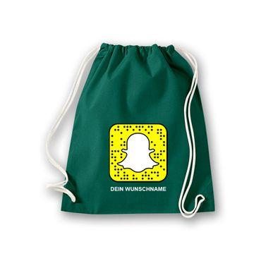 Turnbeutel mit Deinem Snapchat Code Snapcode Logo Snap Chat Facebook 11 Farben – Bild 9