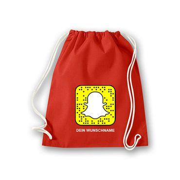 Turnbeutel mit Deinem Snapchat Code Snapcode Logo Snap Chat Facebook 11 Farben – Bild 12