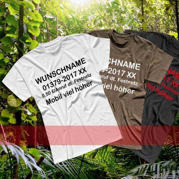 T-Shirt Dschungelcamp Wunschname Telefonnummer Kostüm JGA 13 Farben Men XS - 5XL – Bild 1