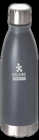 """Vakuum Trinkflasche """"Erlebe Fernreisen"""" grau – Bild 1"""