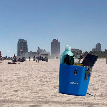 Strandtresor zum Anketten Abschließen Wertsachen-Box Zahlenschloss Strand Beach – Bild 2