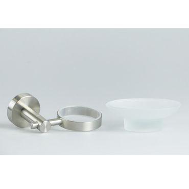 Hochwertiger Seifenteller Scheifenschale Glas milchig transparent matt Edelstahl / 41.152/000-matt – Bild 2