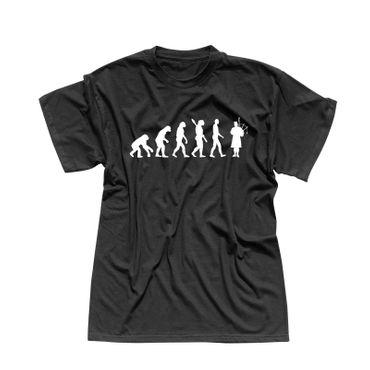 T-Shirt Evolution Dudelsackspieler Schottland Tradition 13 Farben Herren XS-5XL – Bild 1