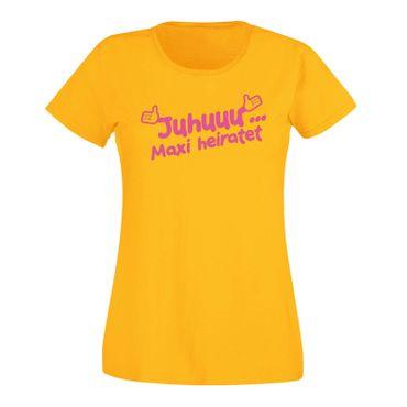 JGA Shirt Juhuu Wunschname heiratet Scheisse ich bin XXX Hochzeit Damen XS-3XL – Bild 14