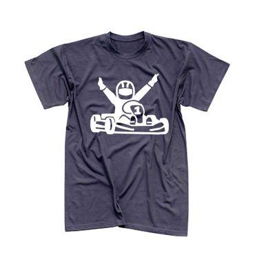 T-Shirt Kartfahrer Siegerpose Gokart Karting Rennsport 13 Farben Herren XS-5XL – Bild 6