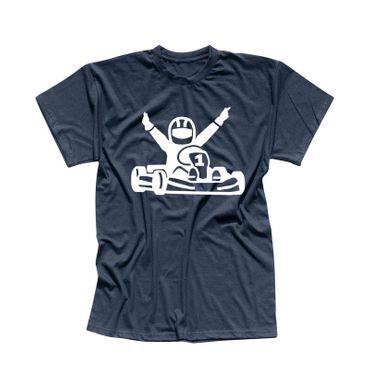 T-Shirt Kartfahrer Siegerpose Gokart Karting Rennsport 13 Farben Herren XS-5XL – Bild 11