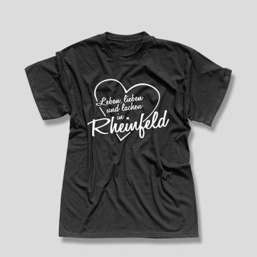 Rheinfeld T-Shirt Herren Leben lieben lachen Geschenk Dormagen 10 Farben XS-5XL – Bild 3
