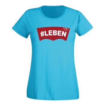 T-Shirt #LEBEN Jeans Logo Lookalike Parodie Fun-Shirt 15 Farben Damen XS - 3XL – Bild 12