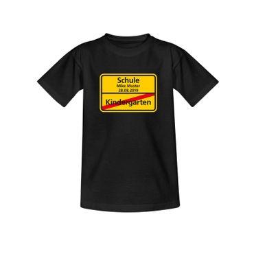 T-Shirt Schild Kindergarten/Schule Wunschname Einschulung 10 Farb. Kinder 98-164 – Bild 3