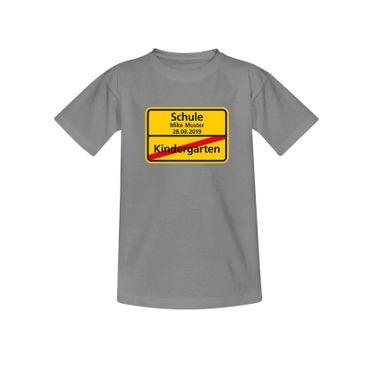 T-Shirt Schild Kindergarten/Schule Wunschname Einschulung 10 Farb. Kinder 98-164 – Bild 6