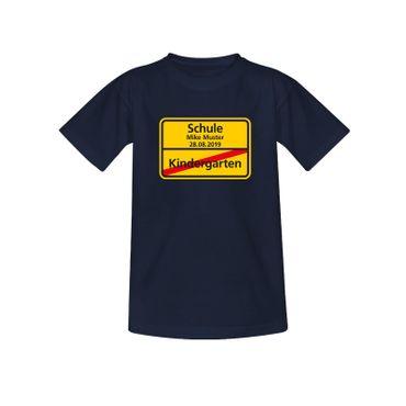 T-Shirt Schild Kindergarten/Schule Wunschname Einschulung 10 Farb. Kinder 98-164 – Bild 8