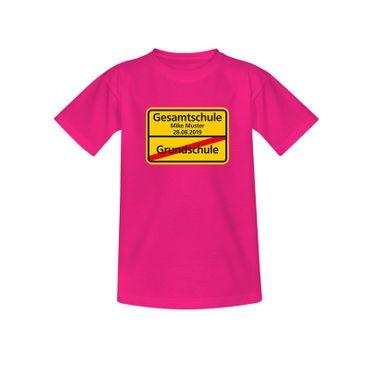 T-Shirt Grundschule/Gesamtschule Wunschname Schulanfang 10 Farben Kinder 98-164 – Bild 5