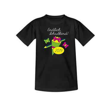 T-Shirt Endlich Schulkind 2019 Einschulung 1. Klasse 10 Farben Kinder 98 - 164 – Bild 3