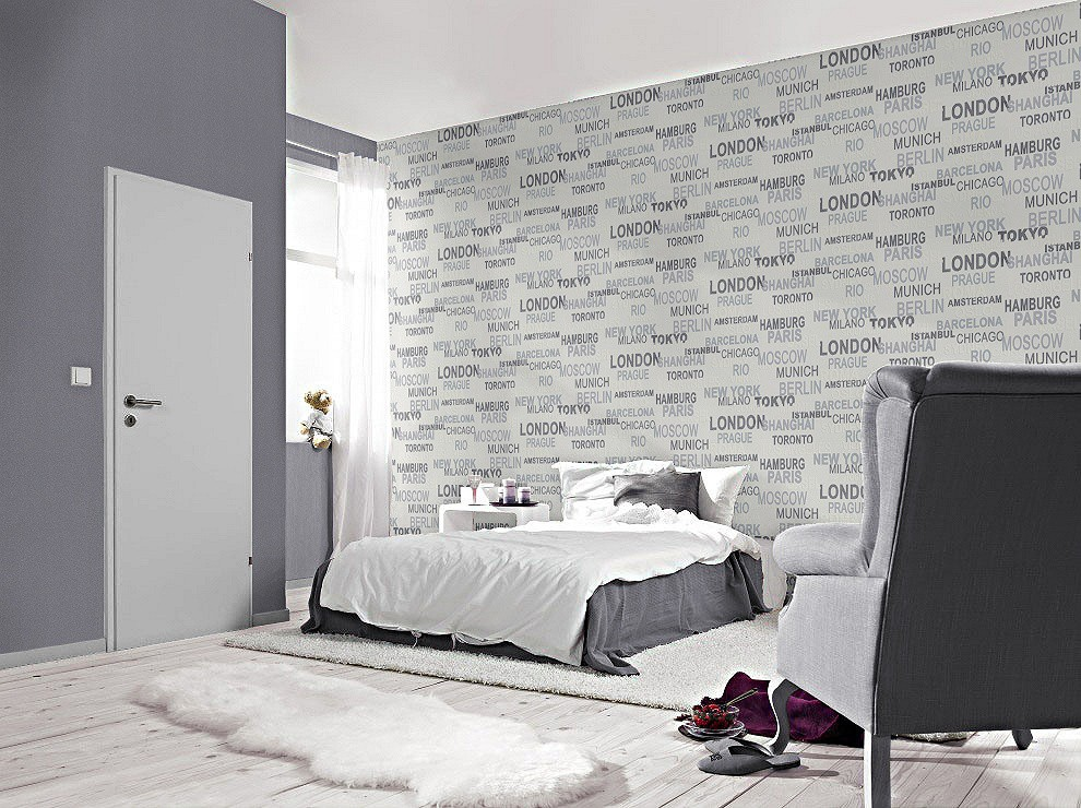 tapete rasch vliestapete 766707 schriftzug stadt wei kids 39 club 2014. Black Bedroom Furniture Sets. Home Design Ideas