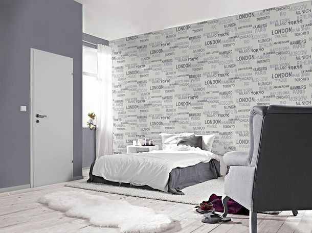Wallpaper Rasch non-woven 766707 lettering city white online kaufen