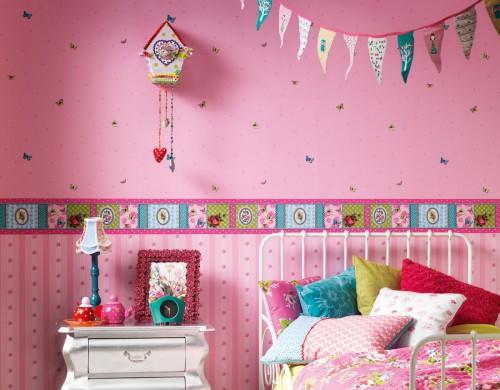 Be Happy Bordüre Nitsche 8657 17 865717 Kindertapete Retro Pop pink online kaufen