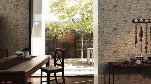 Tapete Mauer Kieselstein Efeu beige grau 8344-16 online kaufen