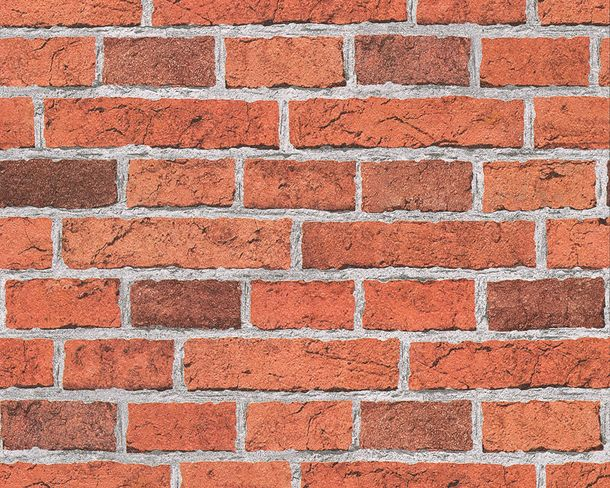 Wallpaper Brick Stonewall red orange 7798-16