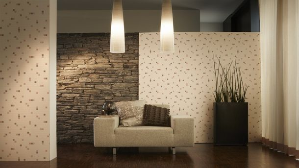 Vinyl Wallpaper Tiles Mosaic red brown cream 6077-20 online kaufen