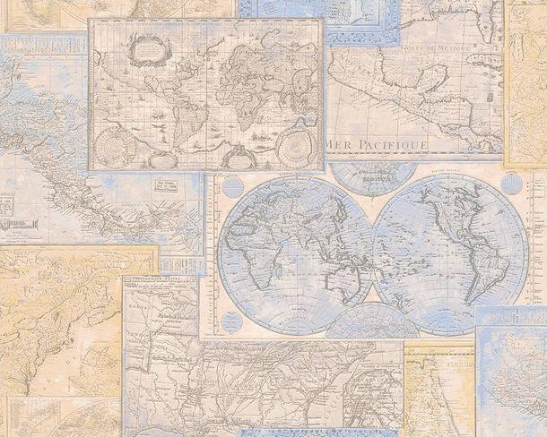 Wallpaper Dekora Natur 6643-10 worldmap cream blue buy online