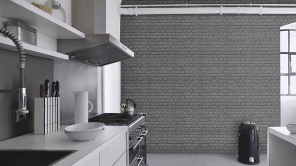 Jugendtapete Rasch Stein-Optik Mauer schwarz 226744 online kaufen