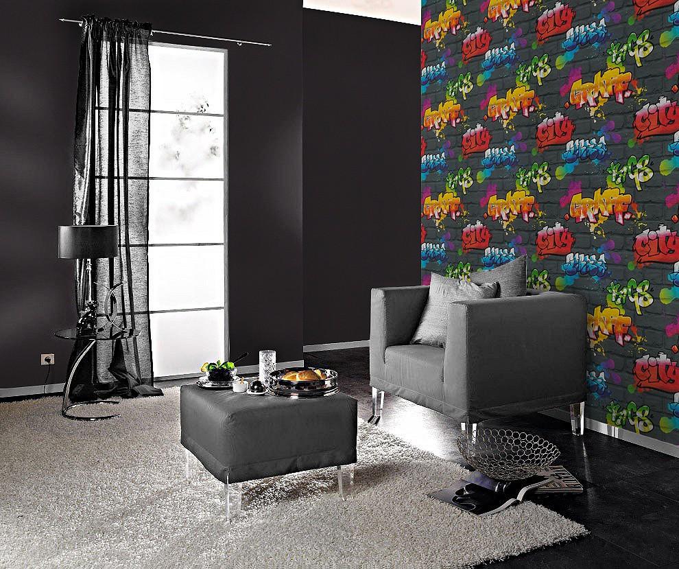 jugendtapete rasch graffiti schwarz regenbogen 237801. Black Bedroom Furniture Sets. Home Design Ideas