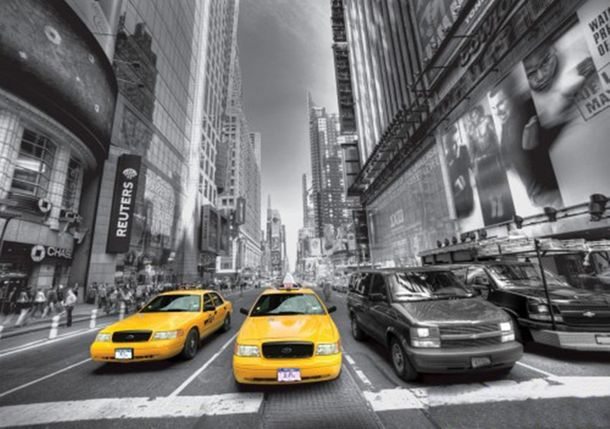 Photo Wallpaper Taxi New York black white 360 x 254cm