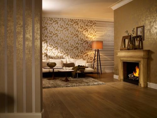 Non-woven wallpaper 53103 stripes green gold grey online kaufen