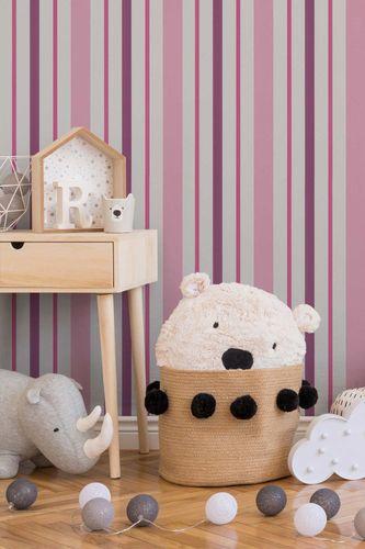 Kindertapete Streifen Gerillt weiß pink 8983-19 online kaufen