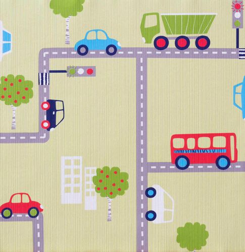 Wallpaper kids Boys & Girls cars green 93632-2