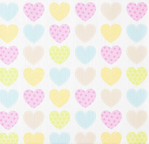 Kids Wallpaper Hearts Pattern white colourful 93566-2 online kaufen