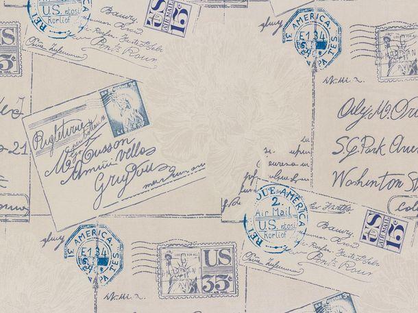 Vintage Diary Tapete Rasch Textil 255125 Briefe blau grau