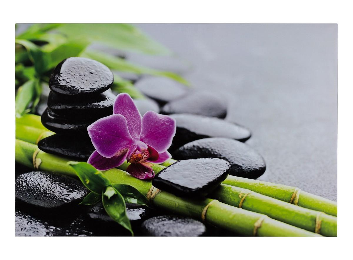 keilrahmen wandbild orchidee bambus steine 78x118 cm. Black Bedroom Furniture Sets. Home Design Ideas